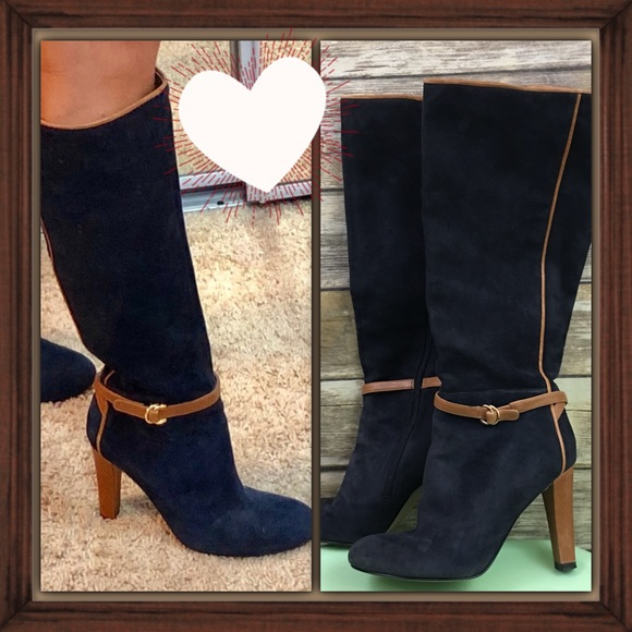 a26ef7cc962 Ivanka Trump Shoes - Ivanka Trump Navy Blue Suede knee High Boots